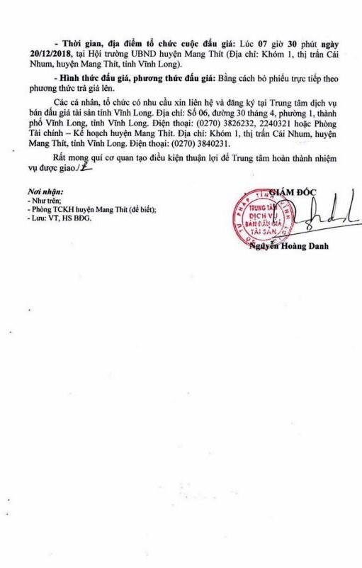 Ngày 20/12/2018, đấu giá quyền sử dụng đất tại huyện Mang Thít, tỉnh Vĩnh Long - ảnh 2