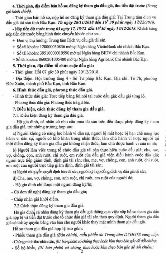 Ngày 20/12/2018, đấu giá quyền sử dụng đất tại thành phố Bắc Kạn, tỉnh Bắc Kạn - ảnh 2