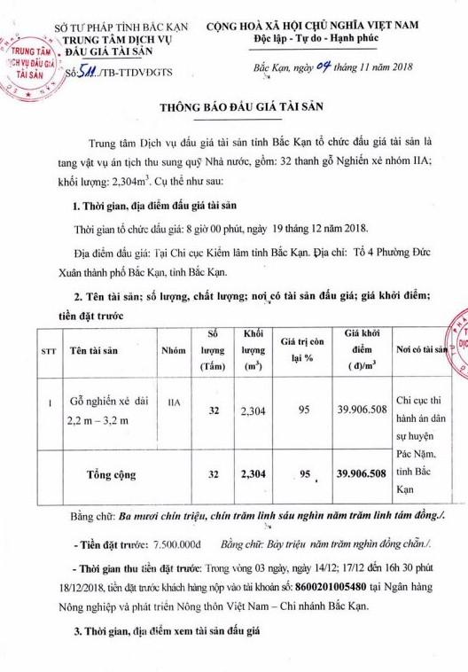 Ngày 19/12/2018, đấu giá tang vật tịch thu tại tỉnh Bắc Kạn - ảnh 1