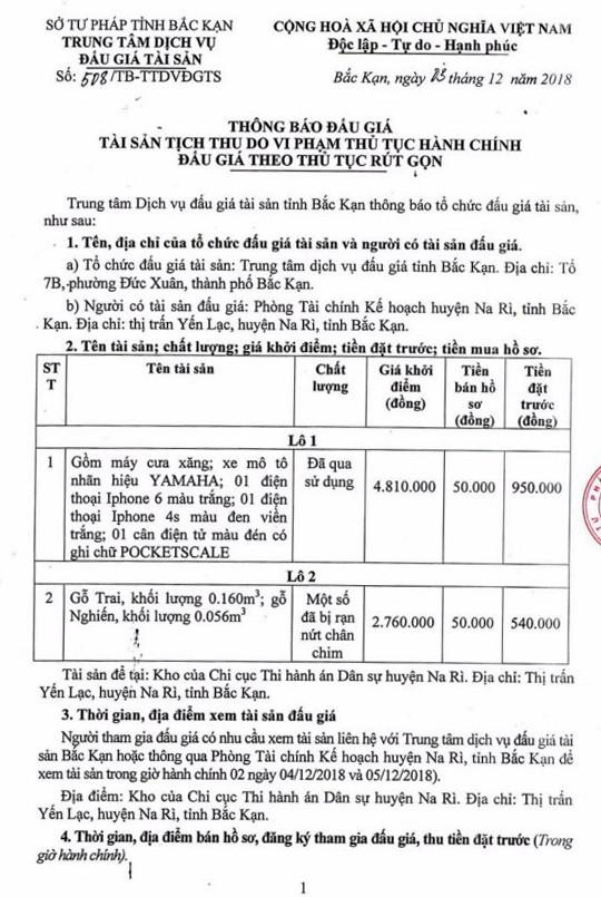 Ngày 11/12/2018, đấu giá quyền sử dụng đất tại huyện Na Rì, tỉnh Bắc Kạn - ảnh 1