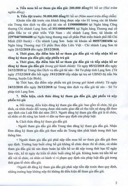 Ngày 27/12/2018, đấu giá quyền sử dụng 30 lô đất tại huyện Lộc Bình, tỉnh Lạng Sơn - ảnh 2