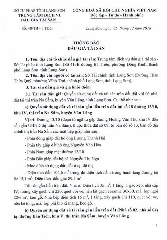 Ngày 27/12/2018, đấu giá quyền sử dụng đất và tài sản trên đất tại huyện Văn Lãng, tỉnh Lạng Sơn - ảnh 1