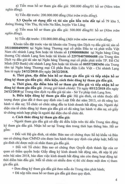 Ngày 27/12/2018, đấu giá quyền sử dụng đất và tài sản trên đất tại huyện Văn Lãng, tỉnh Lạng Sơn - ảnh 4