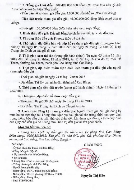 Ngày 26/12/2018, đấu giá quyền sử dụng đất tại thành phố Cao Bằng, tỉnh Cao Bằng - ảnh 2
