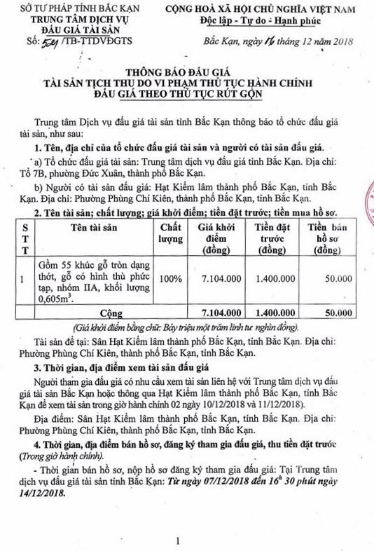 Ngày 17/12/2018, đấu giá gỗ tròn tại tỉnh Bắc Kạn - ảnh 1