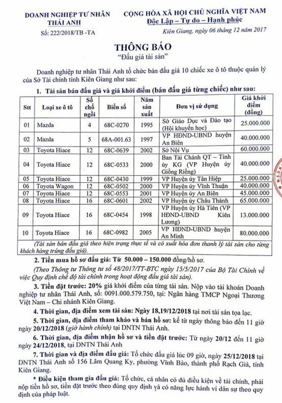 Ngày 25/12/2018, đấu giá lô xe ô tô tại tỉnh Kiên Giang - ảnh 1