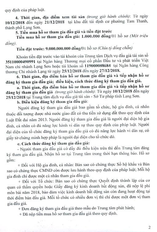 Ngày 28/12/2018, đấu giá quyền sử dụng đất tại thành phố Lạng Sơn, tỉnh Lạng Sơn - ảnh 2
