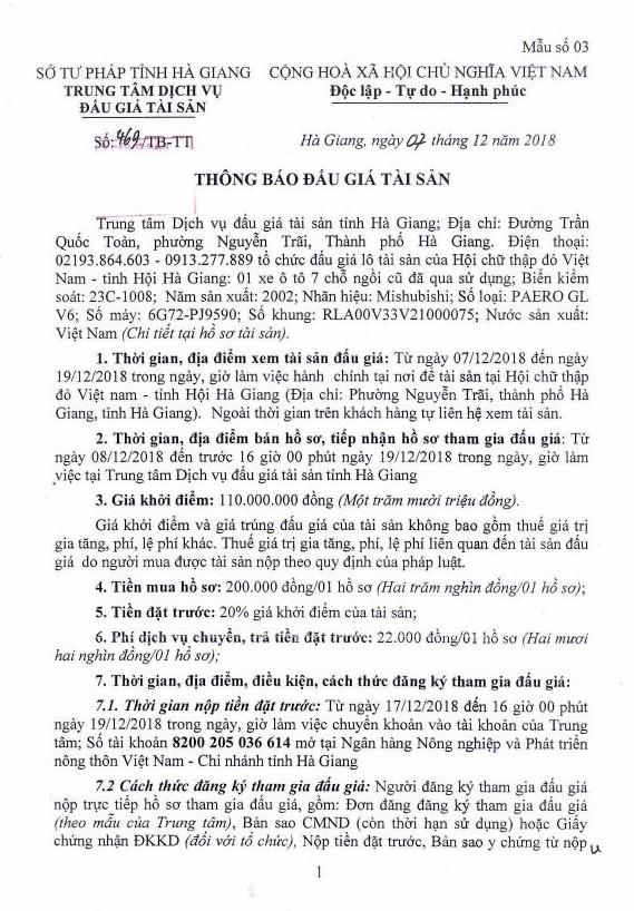 Ngày 24/12/2018, đấu giá xe ô tô tại tỉnh Hà Giang - ảnh 1
