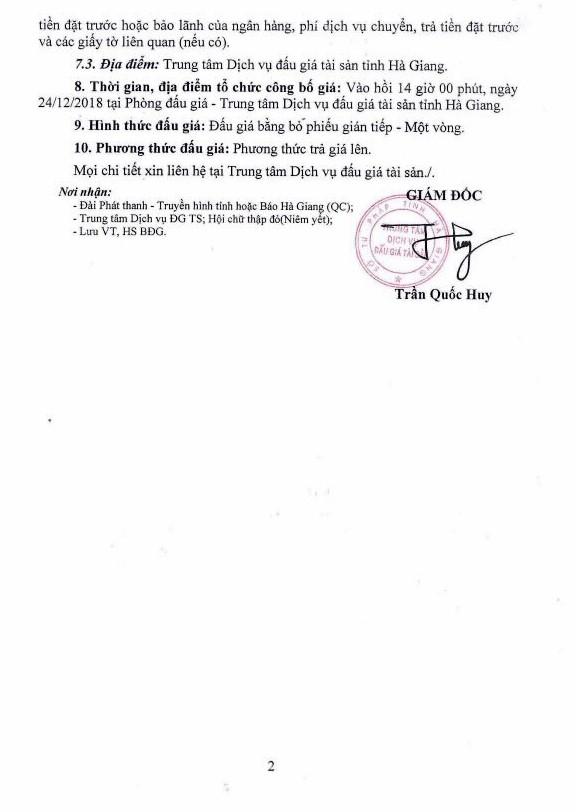 Ngày 24/12/2018, đấu giá xe ô tô tại tỉnh Hà Giang - ảnh 2