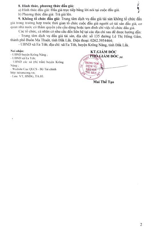 Ngày 7/1/2019, đấu giá cho thuê 8 ki ốt tại tỉnh Đắk Lắk - ảnh 2