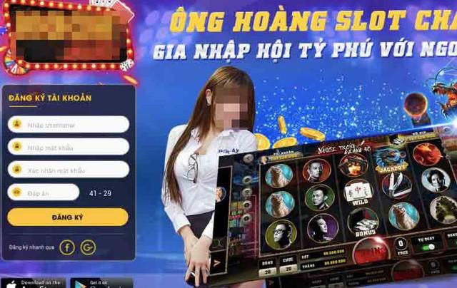 """Game bài Ng. được quảng cáo là """"Ông hoàng slot châu Á""""."""