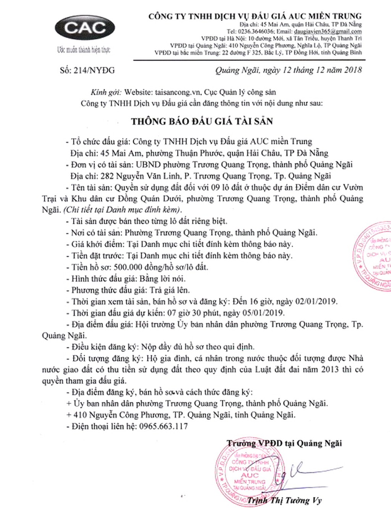Ngày 5/1/2019, đấu giá quyền sử dụng 9 lô đất tại thành phố Quảng Ngãi, tỉnh Quảng Ngãi - ảnh 1
