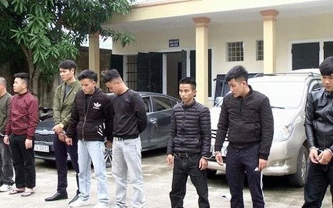 Các đối tượng tại Công an huyện Diễn Châu.