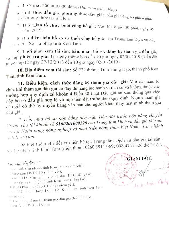 Ngày 5/1/2019, đấu giá quyền sử dụng đất, quyền sở hữu nhà và tài sản gắn liền với đất tại thành phố Kon Tum, tỉnh Kon Tum - ảnh 2