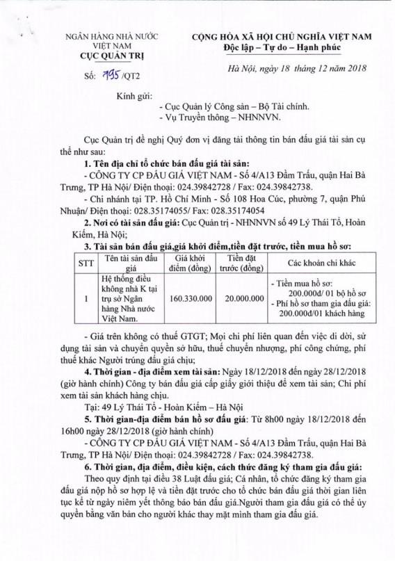 Ngày 03/01/2019, đấu giá hệ thống điều hòa không khí tại Hà Nội - ảnh 1