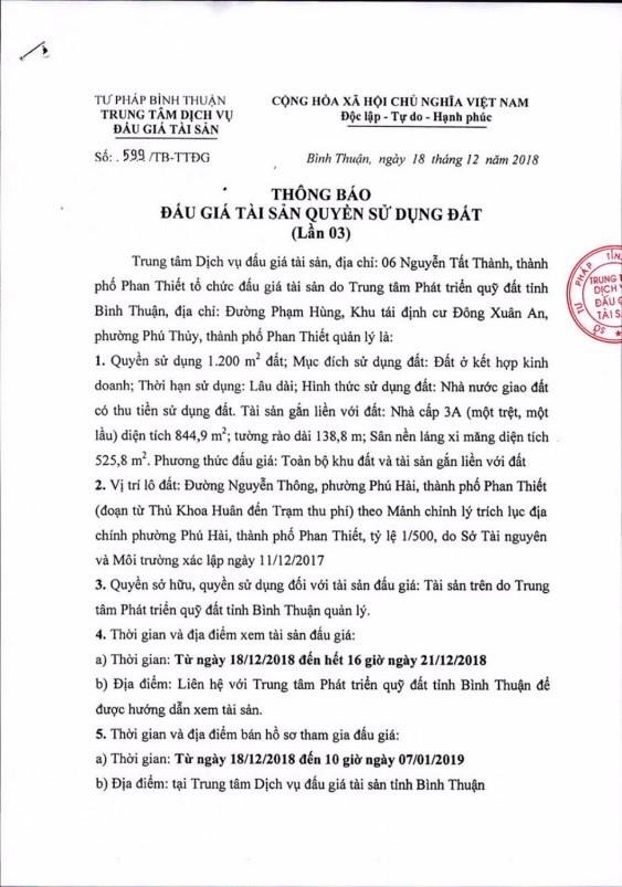 Ngày 10/01/2019, đấu giá quyền sử dụng 1.200 m2 đất và tài sản gắn liền với đất tại thành phố Phan Thiết, tỉnh Bình Thuận - ảnh 1