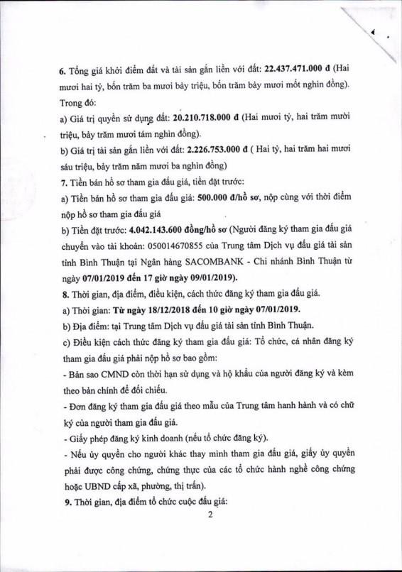 Ngày 10/01/2019, đấu giá quyền sử dụng 1.200 m2 đất và tài sản gắn liền với đất tại thành phố Phan Thiết, tỉnh Bình Thuận - ảnh 2