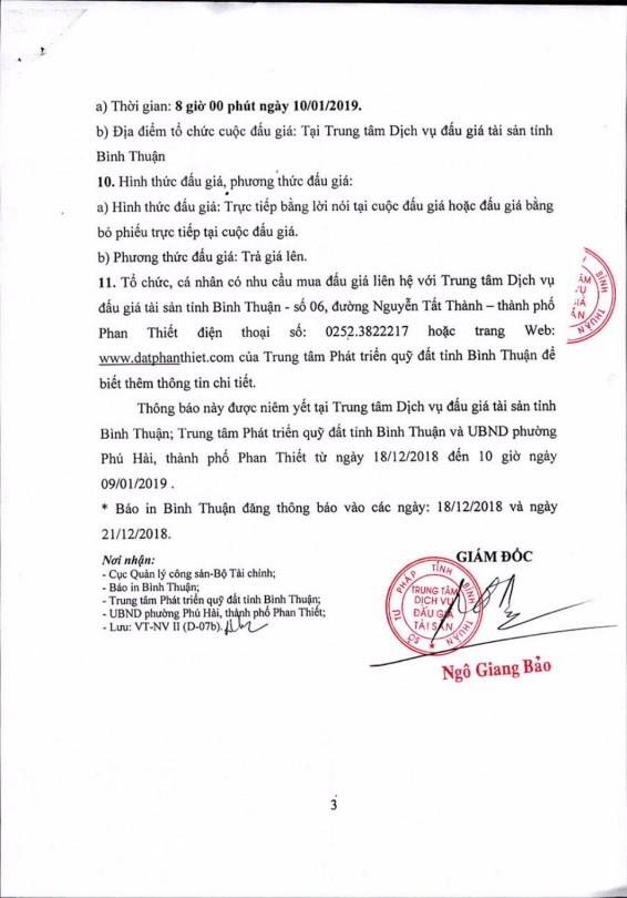 Ngày 10/01/2019, đấu giá quyền sử dụng 1.200 m2 đất và tài sản gắn liền với đất tại thành phố Phan Thiết, tỉnh Bình Thuận - ảnh 3
