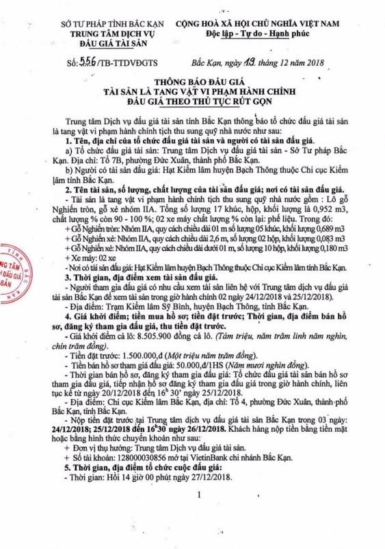 Ngày 27/12/2018, đấu giá tang vật vi phạm hành chính tại tỉnh Bắc Kạn - ảnh 1
