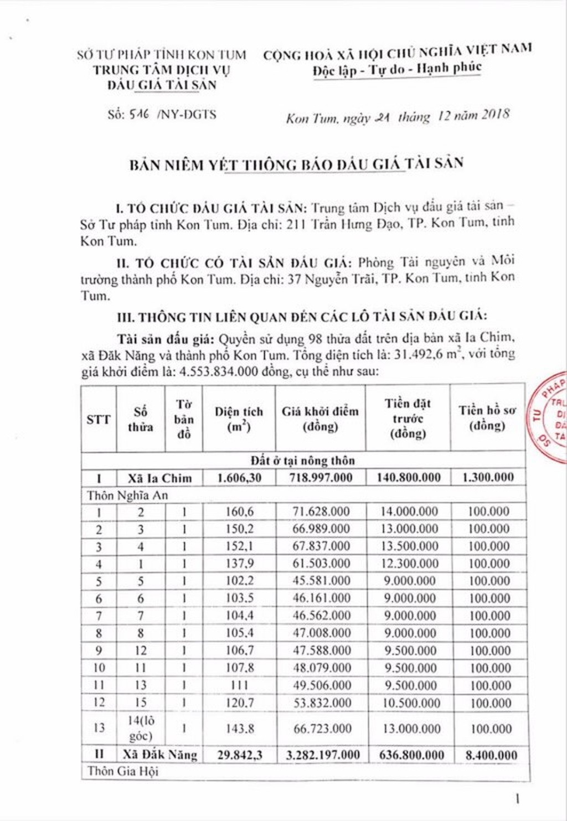 Ngày 17/01/2019, đấu giá quyền sử dụng 98 thửa đất tại thành phố Kon Tum, tỉnh Kon Tum - ảnh 1