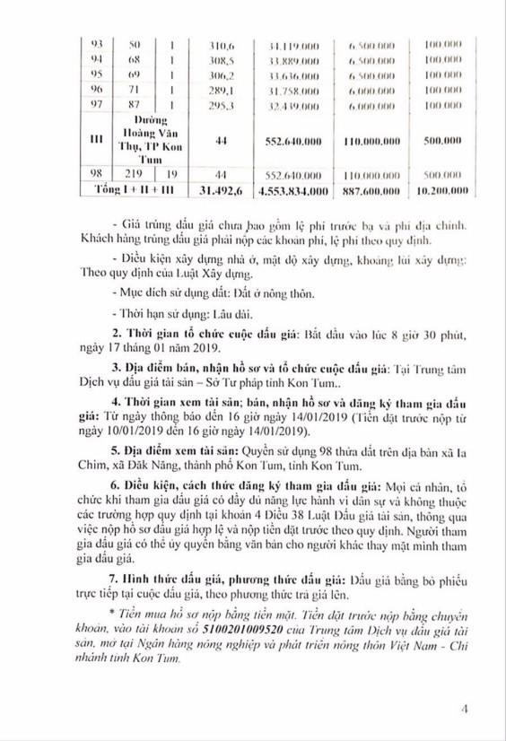 Ngày 17/01/2019, đấu giá quyền sử dụng 98 thửa đất tại thành phố Kon Tum, tỉnh Kon Tum - ảnh 4