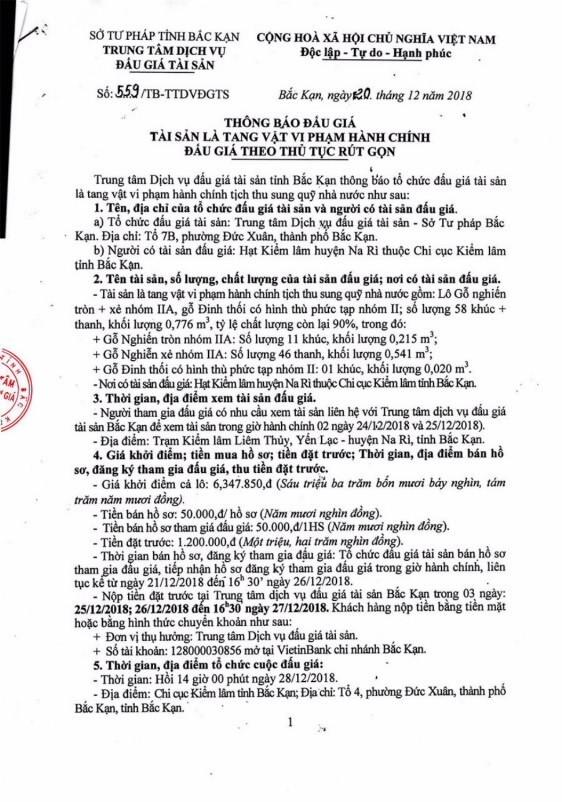 Ngày 28/12/2018, đấu giá tang vật tịch thu sung công quỹ tại tỉnh Bắc Kạn - ảnh 1