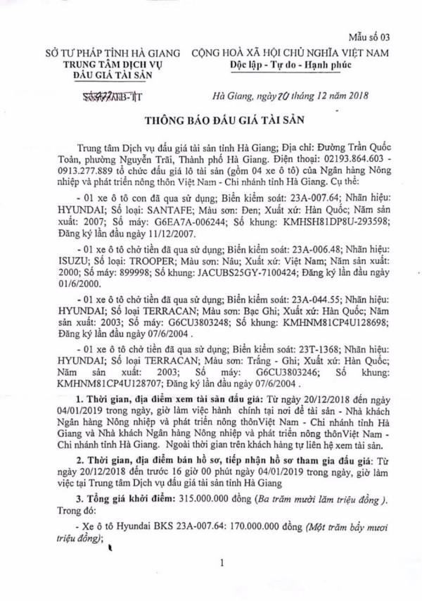 Ngày 09/1/2019, đấu giá xe ô tô tại tỉnh Hà Giang - ảnh 1