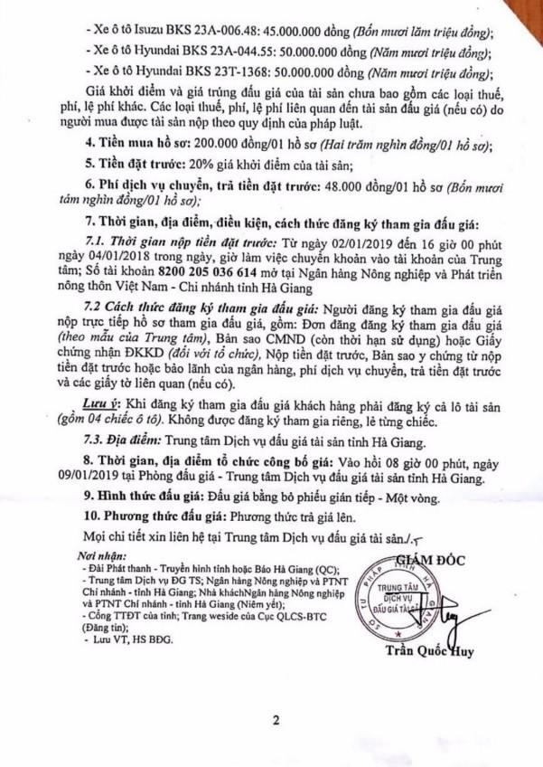 Ngày 09/1/2019, đấu giá xe ô tô tại tỉnh Hà Giang - ảnh 2