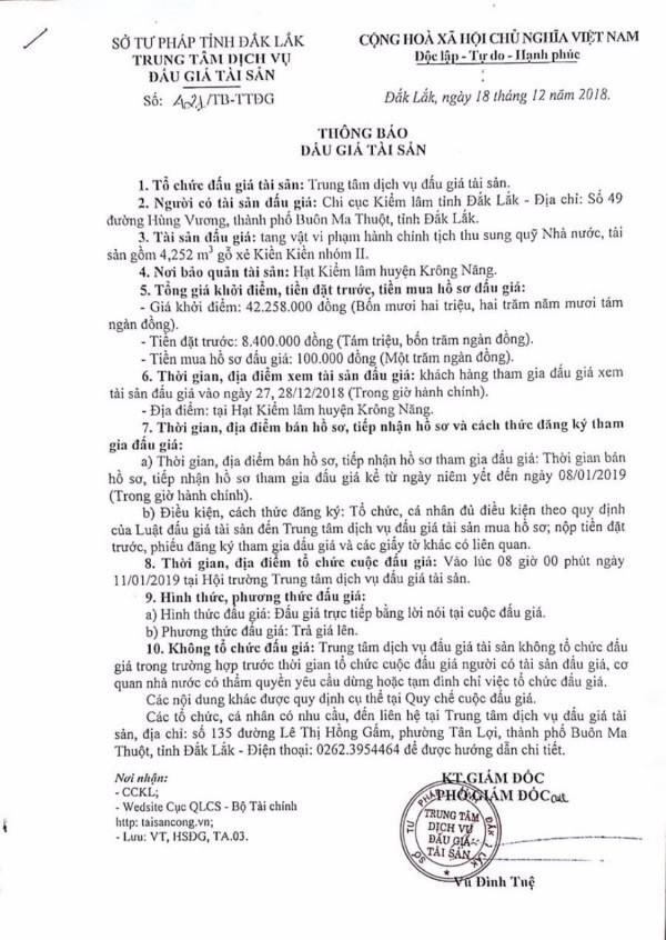 Ngày 11/1/2019, đấu giá tang vật vi phạm hành chính tại tỉnh Đắk Lắk - ảnh 1