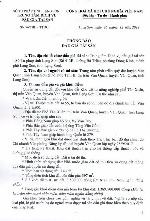 Ngày 18/1/2019, đấu giá quyền sử dụng đất tại huyện Văn Quan, tỉnh Lạng Sơn - ảnh 1