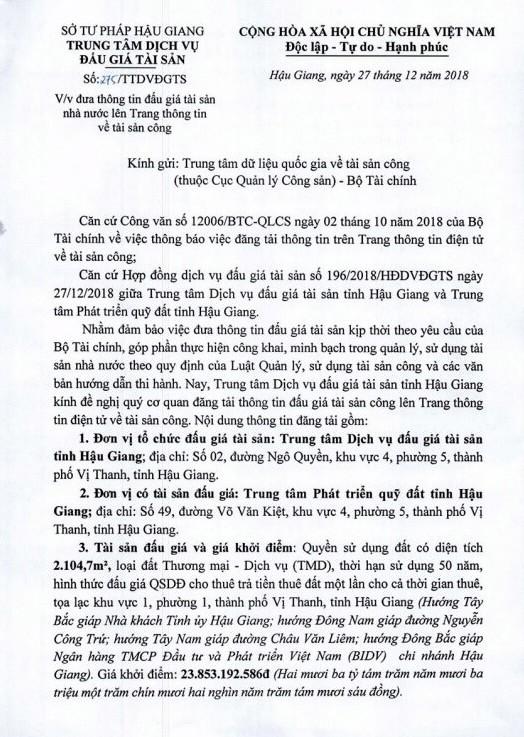 Ngày 24/1/2019, đấu giá quyền sử dụng đất tại thành phố Vị Thanh, tỉnh Hậu Giang - ảnh 1