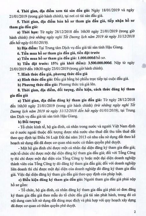 Ngày 24/1/2019, đấu giá quyền sử dụng đất tại thành phố Vị Thanh, tỉnh Hậu Giang - ảnh 2