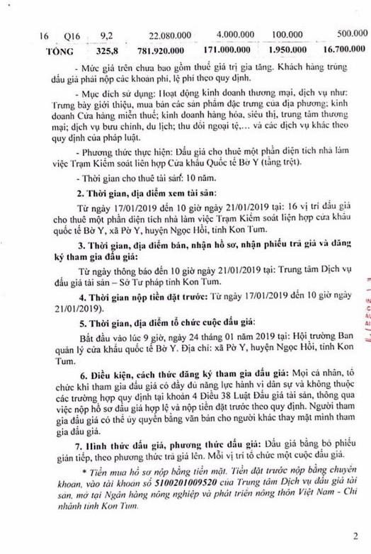 Ngày 24/1/2019, đấu giá cho thuê 1 phần nhà làm việc tại Trạm Kiểm soát liên hợp cửa khẩu Bờ Y (tỉnh Kon Tum) - ảnh 2