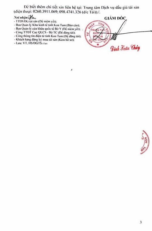 Ngày 24/1/2019, đấu giá cho thuê 1 phần nhà làm việc tại Trạm Kiểm soát liên hợp cửa khẩu Bờ Y (tỉnh Kon Tum) - ảnh 3