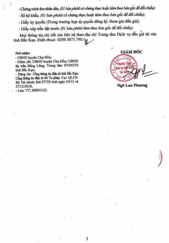 Ngày 17/1/2019, đấu giá quyền sử dung 3 lô đất tại huyện Chợ Đồn, tỉnh Bắc Kạn - ảnh 3
