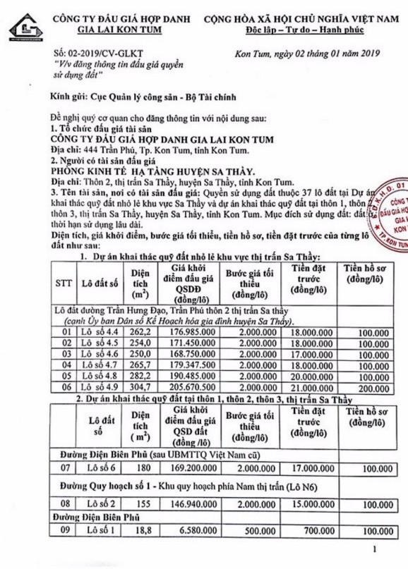 Ngày 28/1/2019, đấu giá quyền sử dụng 37 lô đất tại huyện Sa Thầy, tỉnh Kon Tum - ảnh 1