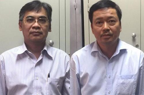 Ông Nghĩa (trái) và Huy khi bị bắt giữ.