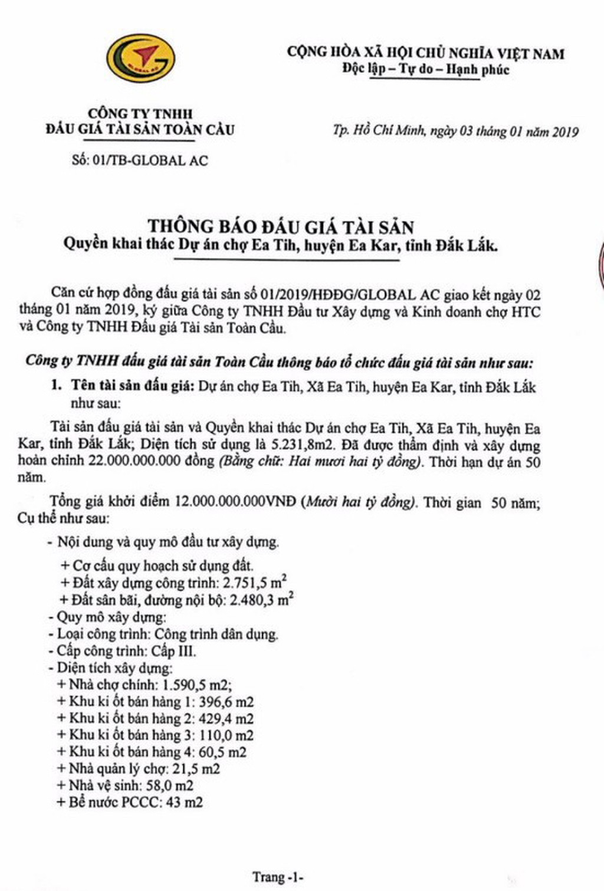 Ngày 24/01/2019, đấu giá quyền sử dụng đất tại huyện Ea Kar, tỉnh Đắk Lắk - ảnh 1