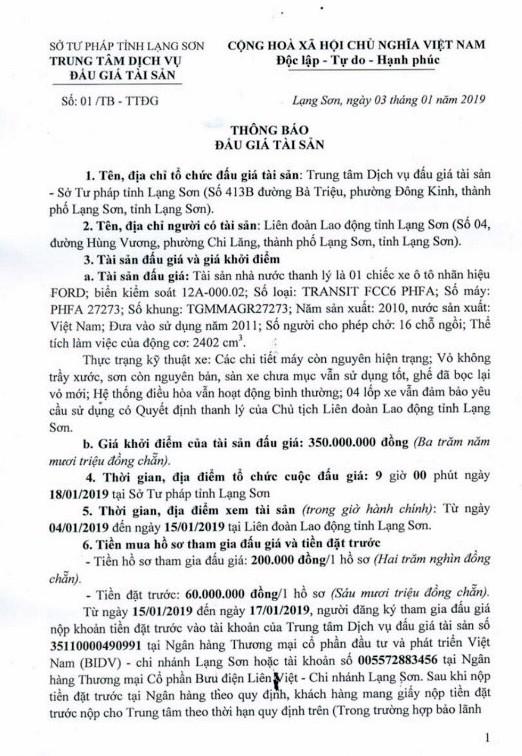 Ngày 18/01/2019, đấu giá xe ô tô tại tỉnh Lạng Sơn - ảnh 1