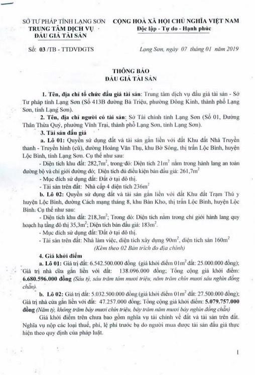 Ngày 31/01/2019, đấu giá quyền sử dụng đất và tài sản gắn liền với đất tại huyện Lộc Bình, tỉnh Lạng Sơn - ảnh 1