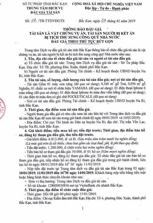 Ngày 15/01/2019, đấu giá vật chứng vụ án và tài sản tịch thu tại tỉnh Bắc Kạn - ảnh 1