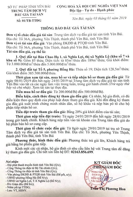 Ngày 29/01/2019, đấu giá quyền sử đất tại thị xã Nghĩa Lộ và thành phố Yên Bái, tỉnh Yên Bái - ảnh 1