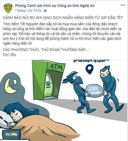 Thông tin cảnh báo rủi ro khi giao dịch ngân hàng điện tử được Phòng cảnh sát Hình sự Công an tỉnh Nghệ An đăng tải trên trang fanpage chính thức của đơn vị.
