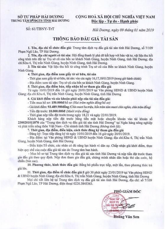 Ngày 23/01/2019, đấu giá vật liệu thu hồi tại tỉnh Hải Dương - ảnh 1