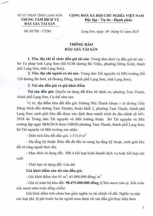 Ngày 31/01/2019, đấu giá quyền sử dụng đất tại thành phố Lạng Sơn, tỉnh Lạng Sơn - ảnh 1
