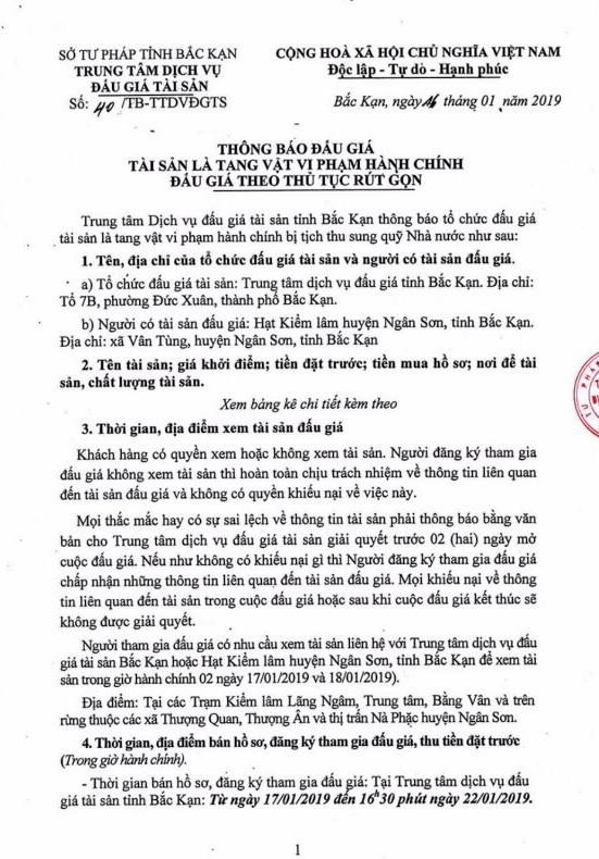 Ngày 24/01/2019, đấu giá gỗ tại tỉnh Bắc Kạn - ảnh 1