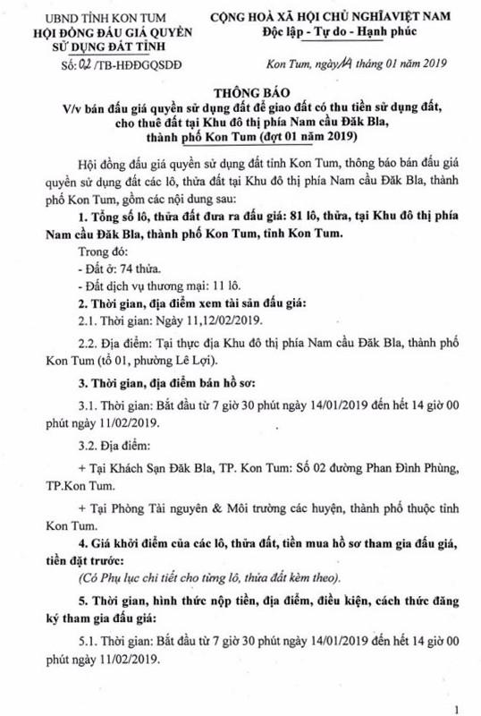 Ngày 14/02/2019, đấu giá quyền sử dụng đất tại thành phố Kon Tum, tỉnh Kon Tum - ảnh 1