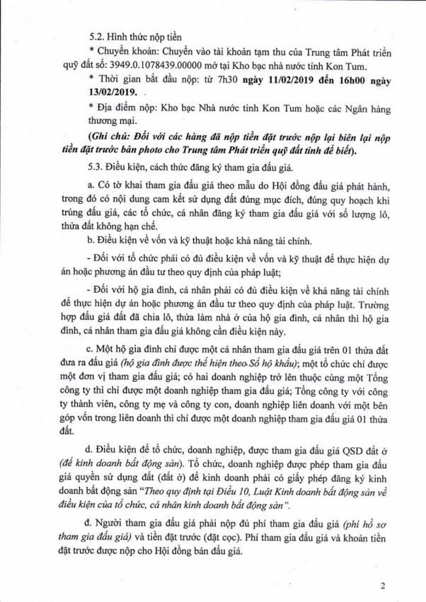 Ngày 14/02/2019, đấu giá quyền sử dụng đất tại thành phố Kon Tum, tỉnh Kon Tum - ảnh 2