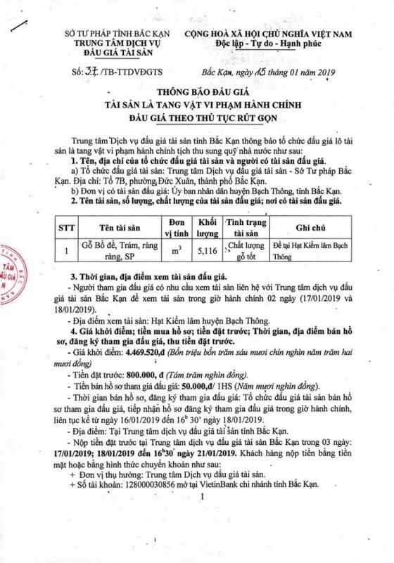 Ngày 22/01/2019, đấu giá gỗ tại tỉnh Bắc Kạn - ảnh 1