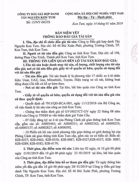 Ngày 30/01/2019, đấu giá xe ô tô thanh lý tại tỉnh Kon Tum - ảnh 1
